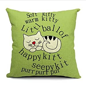 CCTUSGSH Beautiful Lovely Cats Cotton Throw Pillow Case Cushion Cover 16 X 16 Inches One Side