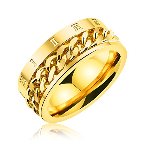 Tcbasrt men's women's Stainless Steel Wedding Bands ring,8mm Roman numeral Chain Design Spinner Rings (gold, 8) (Gold Wedding Roman Bands)