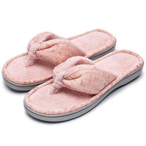 Donne Morbide E Comode In Maglia Felpa Fodera In Pile Memory Foam Spa Infradito Infradito Casa Pantofole Rosa