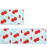 Wolala Home 2 Piece Sets Non-slip Absorbent Kitchen Rug Runner Cherry Fruit Pattern Blue and Red Design Rubber Backing Bathroom Rugs Mat (13x20+13x40, Light Blue)