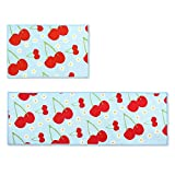 Ethnic Kitchen Rugs Wolala Home 2 Piece Sets Non-slip Absorbent Kitchen Rug Runner Cherry Fruit Pattern Blue and Red Design Rubber Backing Bathroom Rugs Mat (1'3x2'0+1'3x4'0, Light Blue)