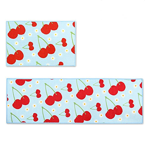 Wolala Home 2 Piece Sets Non-slip Absorbent Kitchen Rug Runner Cherry Fruit Pattern Blue and Red Design Rubber Backing Bathroom Rugs Mat (1'3x2'0+1'3x4'0, Light Blue)