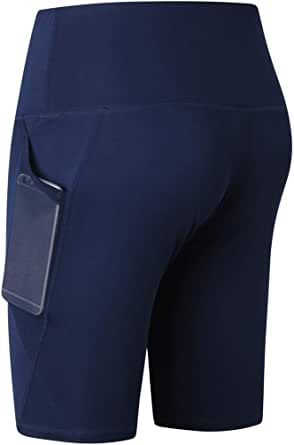 Kasamysoul High Waist Yoga Shorts Women Running Leggings Biker Shorts with Pockets Workout Pants Women