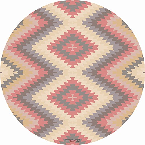 TRIBE WEST Baby Playmat. Easy Clean Round Activity Floor Mat for Crawling Babies, Toddlers, Boy or Girl, 100% Natural Rubber, Durable, Indoor and Outdoor Use. Supporting Global Artisans(Mexican Kilim) by Tribe West