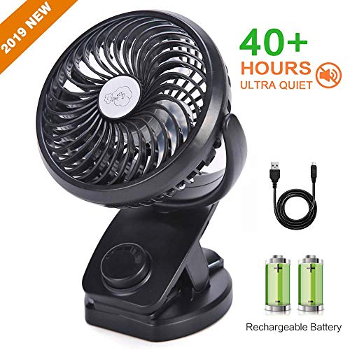 UrChoice Stroller Fans USB Desk Clip Fan,2019 Newest Table Fan 40 Hours(Max Working Time) 360° Rotation 3600mah Battery 4 Speed Quiet Fan for Outdoor/Indoor Baby Car Travel Office Camping Library