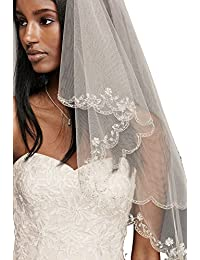 Passat 1T/2T Wedding vails Beautifully Beaded Scallop Edge Wedding Bridal Veil 137