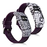 kwmobile 2in1 set: 2x Sports armband protective case for Fitbit Charge / Charge HR - silicone case cover without tracker lace black white, aztec ornaments black white