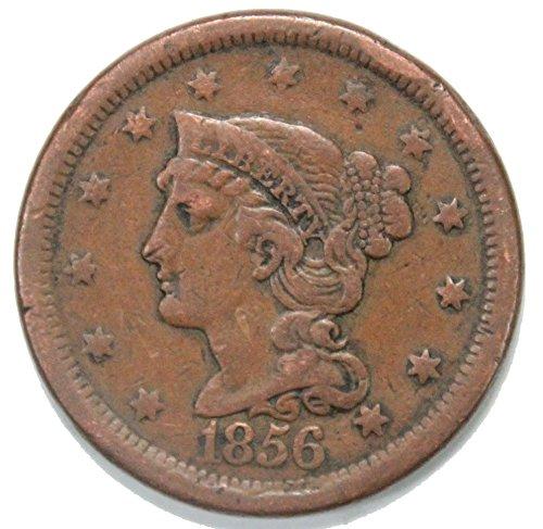 1856 P Braided Hair Large Cent 1C Fine+