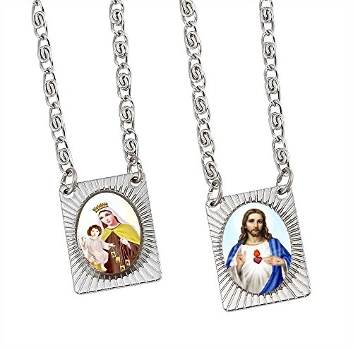 Catholica Shop Stainless Steel Catholic Wear Religious Scapular Medal Necklace | Sacred Heart of Jesus and Our Lady of Mount Carmel Pendant - 14 - Necklace Medal Pendant Scapular