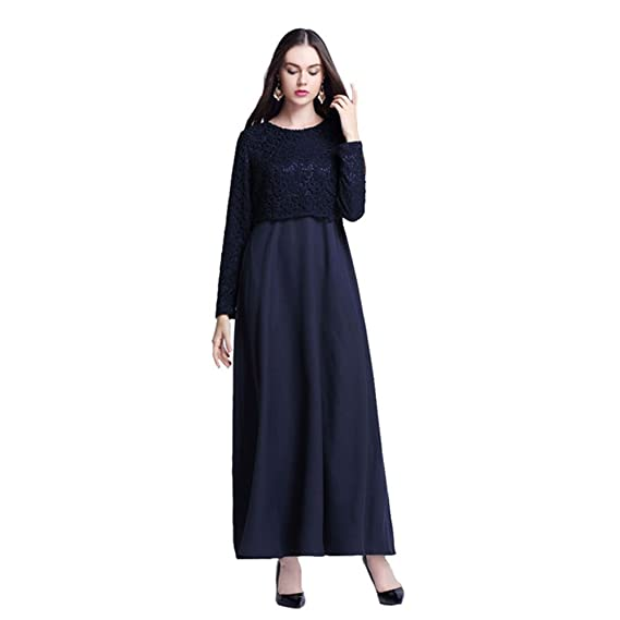 Zhuhaixmy Muslim Kaftan Womens Abaya Dress Middle East Islamic Long Sleeve Lace Patchwork Maxi Dress Malaysia