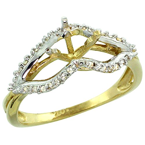 14k Yellow Gold Semi Mount Ring (for 6mm 1 Ct Size) 0.13ct Diamond Accents, 5/16 inch wide, size 10