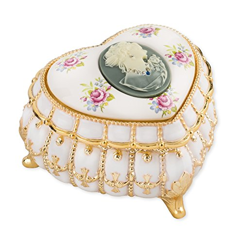 Gold Tone Jewelry Box - Pearl and Gold Tone with Swarovski Crystals Metal Heart Jewelry Music Box Plays My Heart Will Go On
