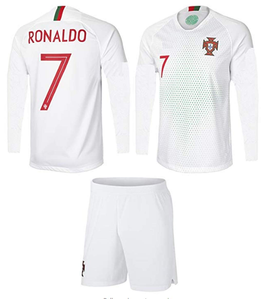 reputable site 031f7 f55fd ZZXYSY Ronaldo #7 Portugal Men's Away Soccer Long Sleeve Jersey/Short  Colour White