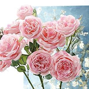 "Crt Gucy 9 Heads 31.5"" Artificial Flowers Long Stem Silk British Rose Flower Bouquet Wedding Party Home Decor, Pack of 3 51"