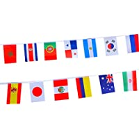 2018 FIFA World Cup Russia Soccer Top 32 String Flag Banners International Flag Bunting 20cm x 15cm for Bar Party Decorations (32 Countries Flags)