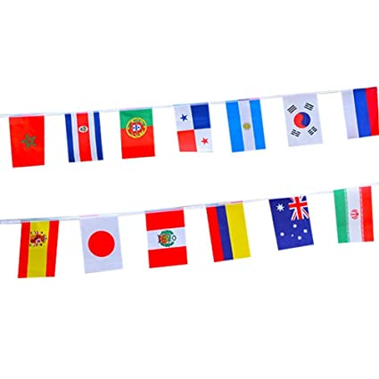 1d1c9728b651 Amazon.com  2018 FIFA World Cup Russia Soccer Top 32 String Flag Banners  International Flag Bunting 8  x 5.5   for Bar Party Decorations (32  Countries ...