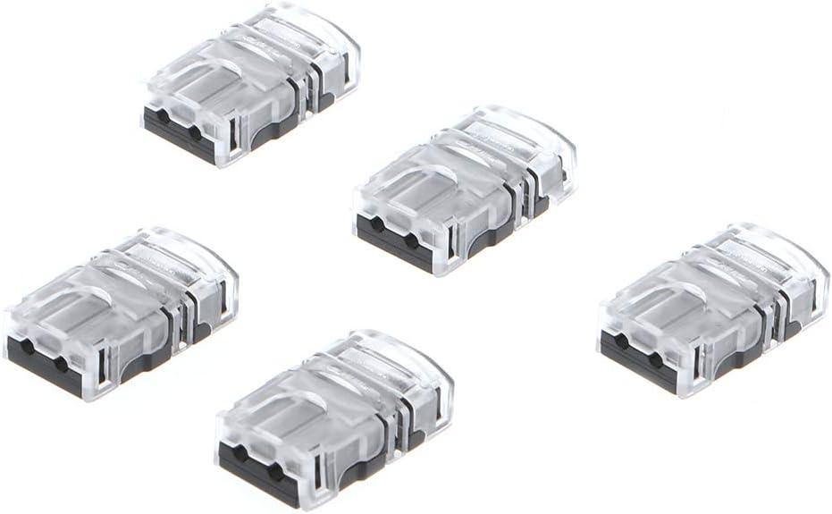 BELTI 5 Piezas 10mm 5050 Conector de Tira de LED 2 Pines para empalmador a presión de luz de Cinta de un Solo Color Impermeable