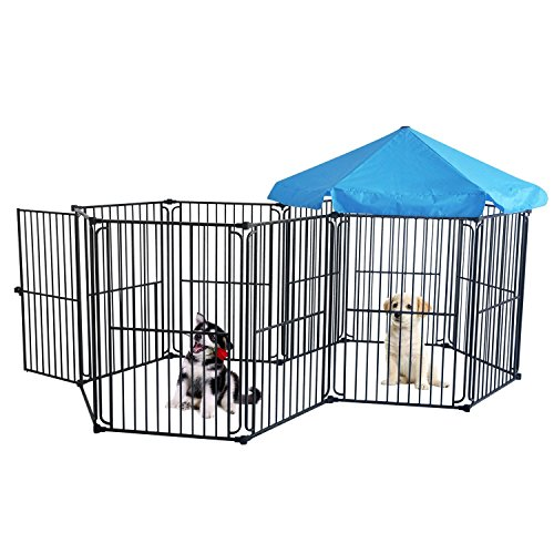 LEMKA Heavy Duty Dog Playpen Dog Kennel Pet Dog Exercise Playpen Foldable Dog Steel Crate Wire Metal Cage 10 Panels with Canopy - 48 inches