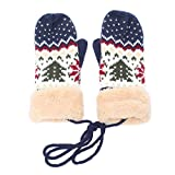Women's & Men's Warm Cashmere Jacquard Knitted Pom Pom Beanie Hat, Neck Handing Gloves, Collapsible Earmuff (Free Size, Navy Blue (Mittens))