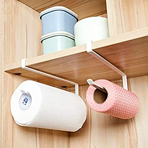 Buytra Paper Towel Holder Dispenser Under Cabinet Paper Roll Hoder Rack  Without Drilling For Kitchen Bathroom, White