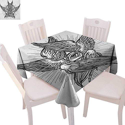 BlountDecor Eye Stain Resistant Wrinkle Tablecloth All Seeing Eye of Providence Hand Drawn Vintage Style Winged Angel Seraphim Inspired Square Wrinkle Resistant Tablecloth 54