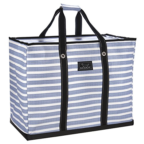 SCOUT 4 Boys Bag, Extra Large, Durable All Purpose Foldable Utility Tote, Folds Flat, Water Resistant, Zips Closed, Oxford Blues