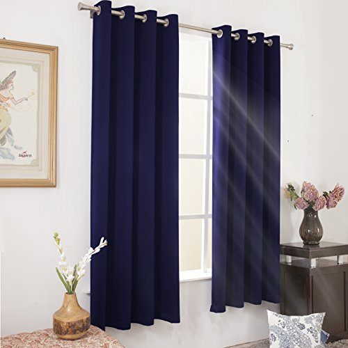 Wontex Blackout Curtains for Bedroom - Thermal Insulated Curtain with Grommet Top - 52 x 95 inch, Navy, 2 Panels - Top Curtain Panel