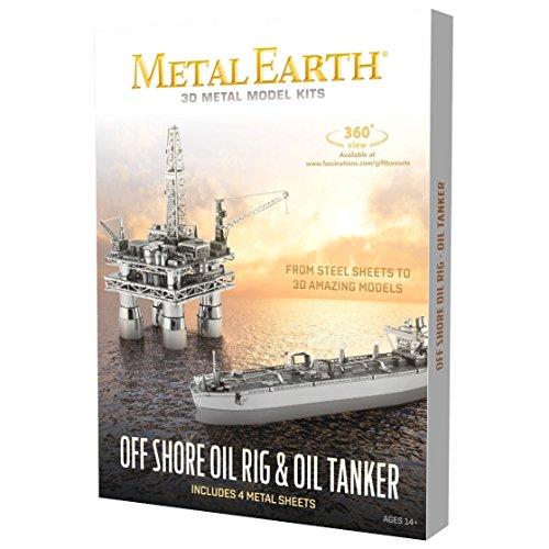 Fascinations Metal Earth Off Shore Oil Rig & Oil Tanker Gift Box Set 3D Metal Model - Metal Oil Tanker