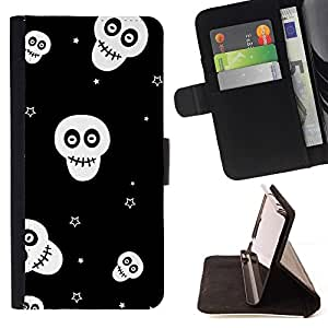 Momo Phone Case / Flip Funda de Cuero Case Cover - Calaveras Estrellas Negro Blanco Wallpaper Smiley - LG G4