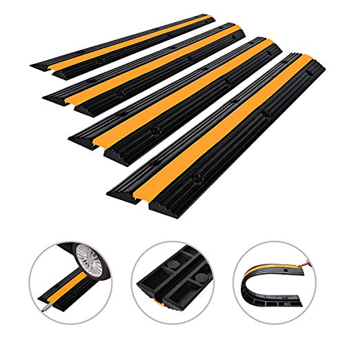 Floor Cord Protector 6.5 Feet Heavy Duty Cable Protector 4 Pack of 1-Channel Rubber Power Gear Extension Cord Cover for Indoor and Outdoor Offices, Garages, Concerts, Warehouses