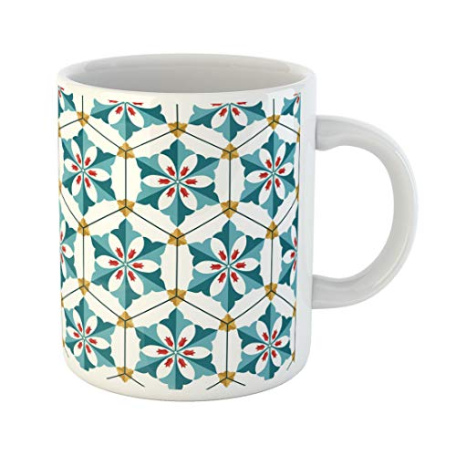 Mug Floral Tulip Flowers and Palms Shape Hexagon Inspired 11 Oz Ceramic Coffee Mugs Tea Cup Best Gift Or Souvenir ()