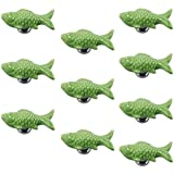 PsmGoodsEurope Style Ceramic Fish Door Drawer Knobs Vintage for Dresser Kitchen Cabinet Cupboard Pulls Handles 10Pack Green by PsmGoods
