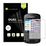 GreatShield (3 Pack) MERE Mark II Anti-Glare (Matte) Clear Hard Coating Screen Protector Film [Anti-Fingerprint | 3H Hardness] with Microfiber Cloth for BlackBerry Q10