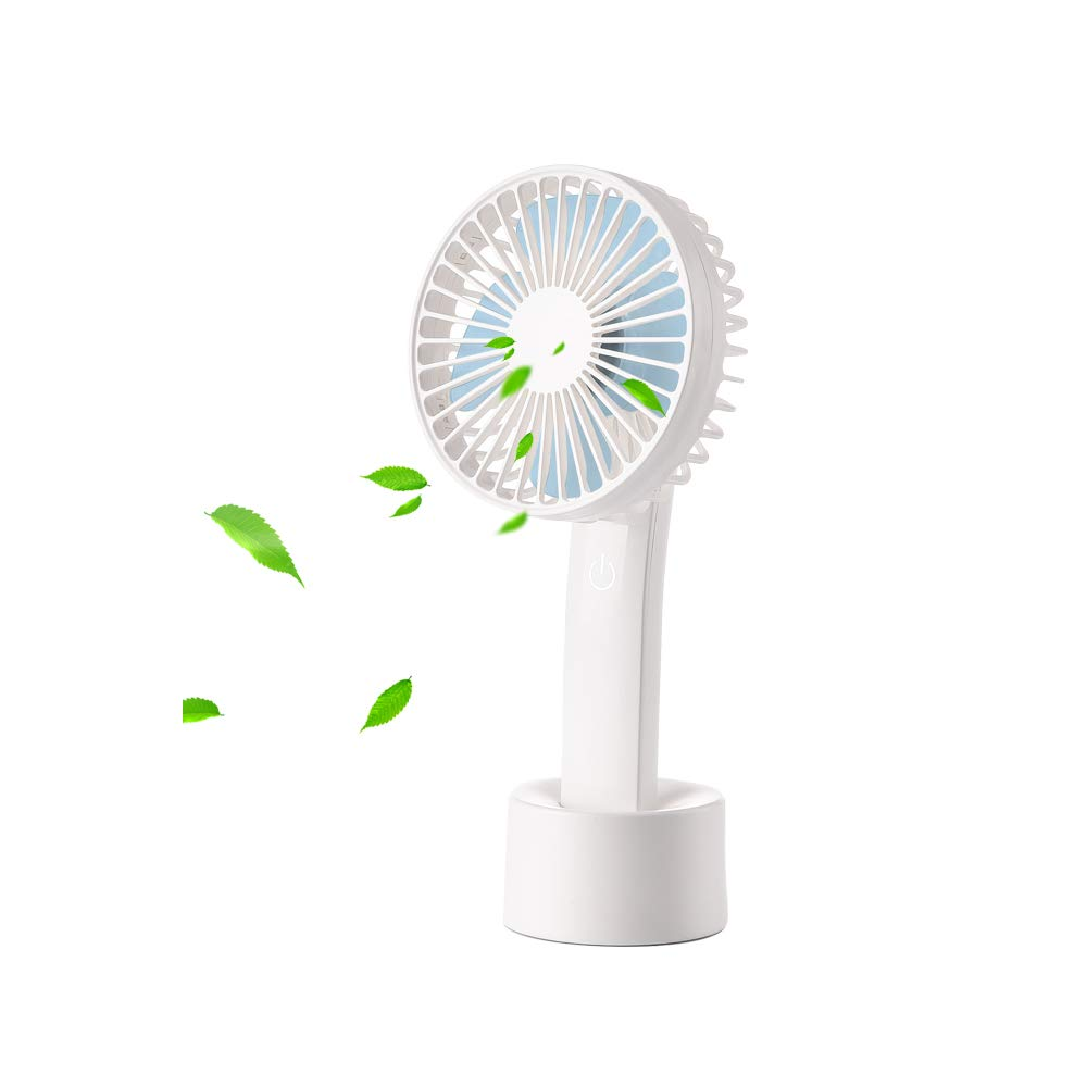 Nieeweiy Mini Handheld Fan USB Rechargeable,USB Portable Fan with Small Quiet, Personal Portable Rechargeable Cooling Fan Office Desktop Fan for Traveling Room Office Car Household (White) by Nieeweiy