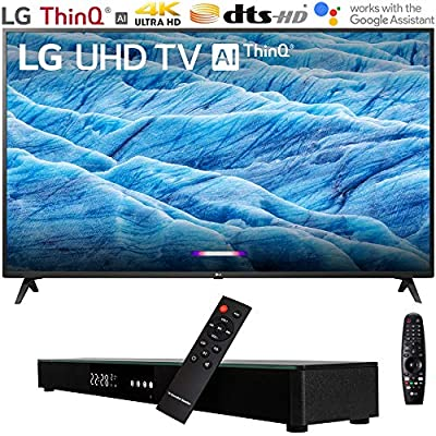 "LG 4K HDR Smart LED IPS TV w/AI ThinQ (2019) + Soundbar Bundle Includes, Deco Gear Home Theater Surround Sound 31"" Soundbar and 6ft Optical Toslink 5.0mm OD Audio Cable"