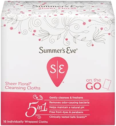 Summer's Eve Cleansing Cloths | Sheer Floral|16 Count | Pack of 12 | pH-Balanced, Dermatologist & Gynecologist Tested