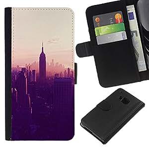KingStore / Leather Etui en cuir / HTC One M9 / State Building de Nueva York Ver;