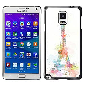 - Paris Eiffel Tower - - Hard Plastic Protective Aluminum Back Case Skin Cover FOR Samsung Galaxy Note 4 SM-N910 N910 Queen Pattern