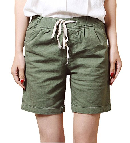 Pleated Bermuda Shorts (Chartou Women's Modest Loose Elastic-Waisted Bermuda Drawstring Casual Shorts (X-Small, Army Green))