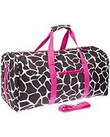 """Giraffe Print 22"""" Luggage Duffle Bag (Black/White/Pink)"""