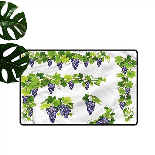 DONEECKL Door mat Customization Vine Green Leaf Cluster of Berries Machine wash/Non-Slip W35 xL59