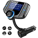 "Bluetooth FM Transmitter, ESOLOM Wireless Car Stereo Radio Adapter Receiver, Hands-Free Calling Car Kit 1.7"" Display, QC3.0 & Smart 2.4A Dual USB Ports, Support TF Card, AUX Input/Output"