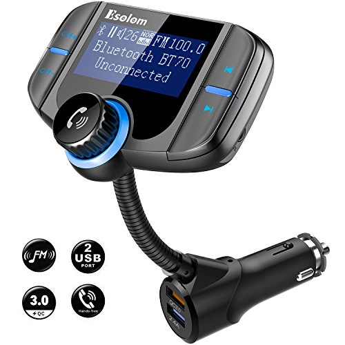 "Bluetooth FM Transmitter, ESOLOM Wireless Car Stereo Radio Adapter Receiver, Hands-Free Calling Car Kit 1.7"" Display, QC3.0 & Smart 2.4A Dual USB Ports, Support TF Card, AUX Input/Output by ESOLOM"