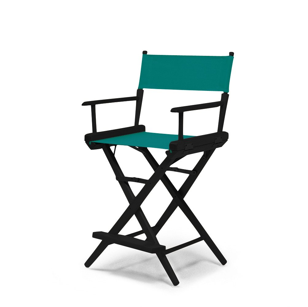 Telescope Casual World Famous Counter Height Director Chair, Teal with Black Frame