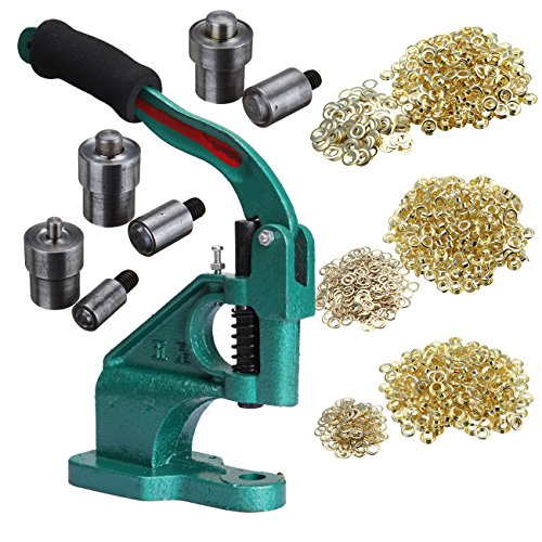Iglobalbuy Manual Grommet Hand Press Machine With 3 Die Sets + 900 grommets For Grommets, Snaps, Buttons & Rivets (Button Snap Machine compare prices)