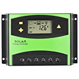 fosa Solar Charger Controller, Solar Panel Regulators Dual USB Output 3-stage PWM Charge 12v-24v(60 A)