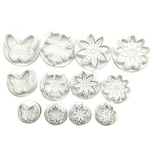 Fondant Cutter - 12pcs Plunger Fondant Cutter Cake Decoration Cookie Biscuit Mold Diy 3d Sugarcraft Cupcake Flower - And Halloween Car Leaf Baby Mold Ribbon Embosser Flower -