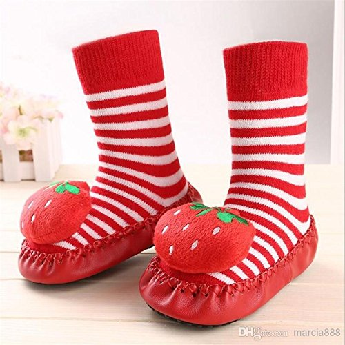 Bebedou rojo 14 cms fresas dibujos animados Calcetines 18 A 24 meses bebé bebés Niños Cómodo Calcetines de interior zapatillas zapatos Mocasín antideslizante interior zapatos calcetines Durable multif