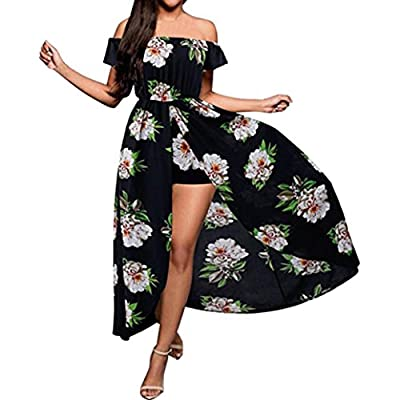 Women Party Dress, Muranba Women's Off Shoulder Floral Rayon Party Split Maxi Romper Dress