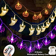 Diojilad Halloween Fairy String Lights Halloween Decorations Lights Set of 3 Battery Operated Orange Pumpkins Bats Ghosts 30 LEDs Each for Halloween Party Decoration Outdoor Indoor with Remote Control